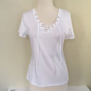 Tops - White V-neck string tie top (large shown)